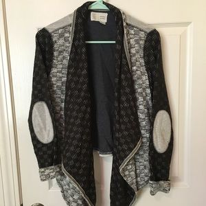Anthropologie b&w textured elbow-patched cardigan